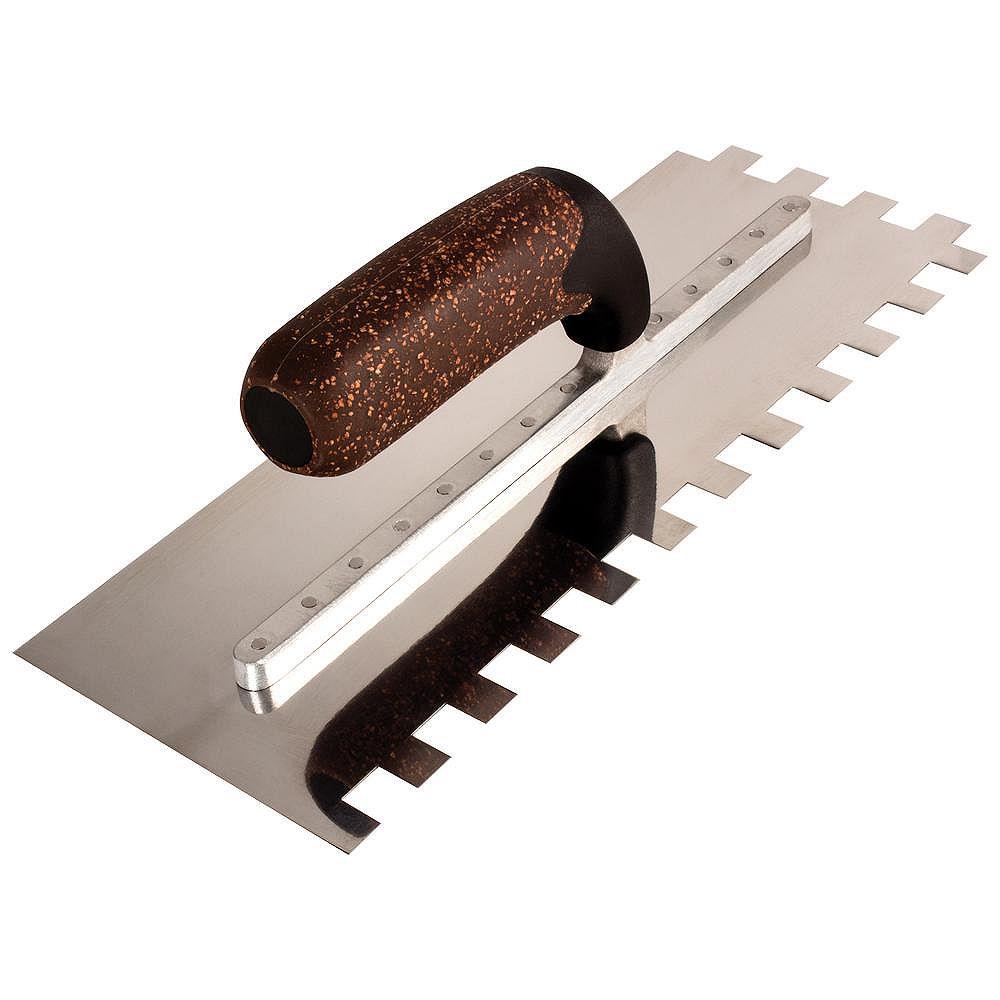 QEP X-Treme Series 12-inch Square-Notch Flooring Trowel with Cork Handle 1/2-inch x 1/2-inch x 1/2-inch Notch Size