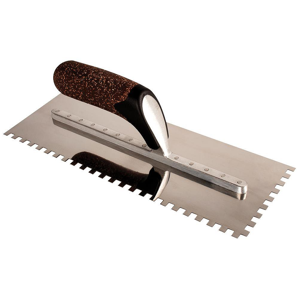 QEP X-Treme Series 12-inch Square-Notch Flooring Trowel with Cork Handle 1/4-inch x 3/8-inch x 1/4-inch Notch Size