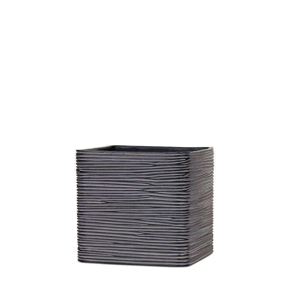 Home Decorators Collection Black Ivory Ribbed Square Planter