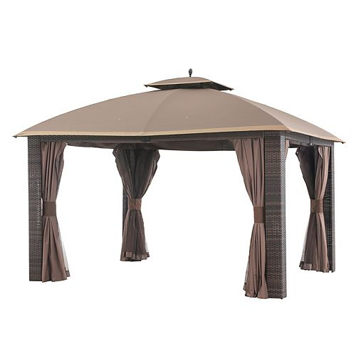Sonoma 12x10 Wicker Gazebo with Curtain & Netting