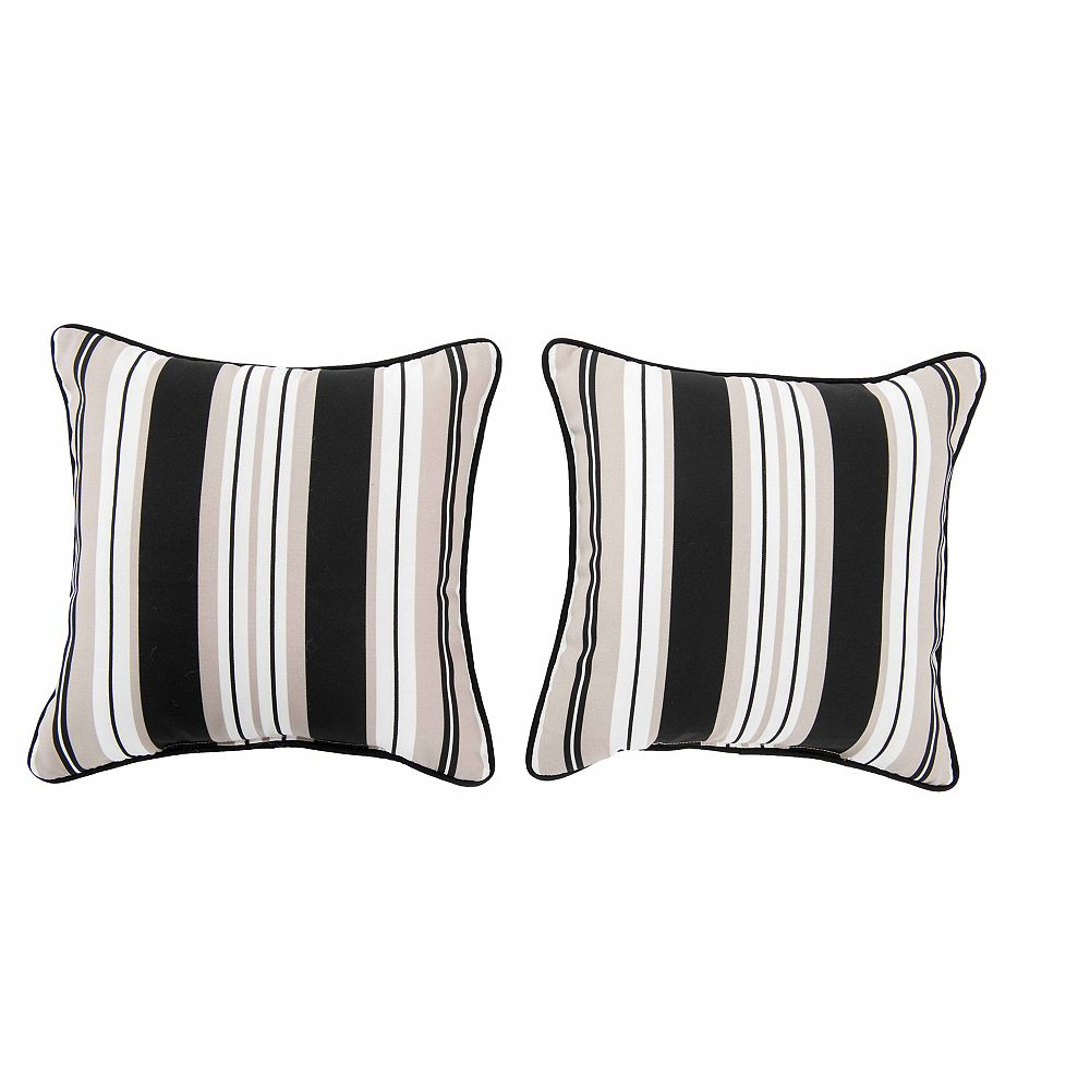 Sunjoy Lancaster Stripe Alabaster Pillow (2-Pack)