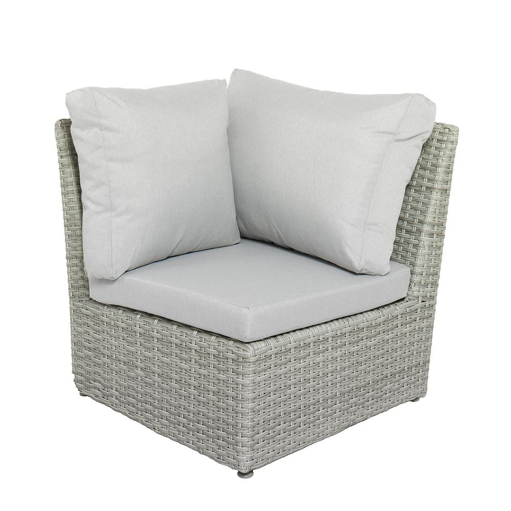 Corliving Brisbane Weather Resistant Resin Wicker Corner Patio Chair with Grey Cushion