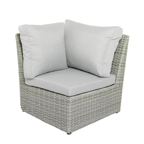 Brisbane Weather Resistant Resin Wicker Corner Patio Chair with Grey Cushion