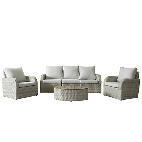 Brisbane Weather Resistant Resin Wicker 6-Piece Loveseat/Chair Patio Set with Grey Cushion
