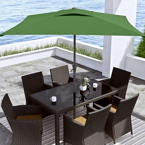 Corliving 9 ft. Square Tilting Forest Green Patio Umbrella