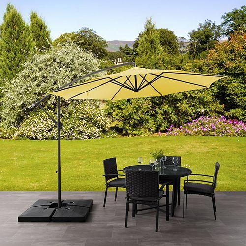 Parasol de patio excentré et resistant aux UV jaune de 9,5 pieds