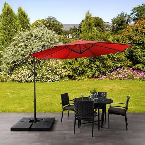 Parasol de patio excentré et resistant aux UV rouge pourpre de 9,5 pieds