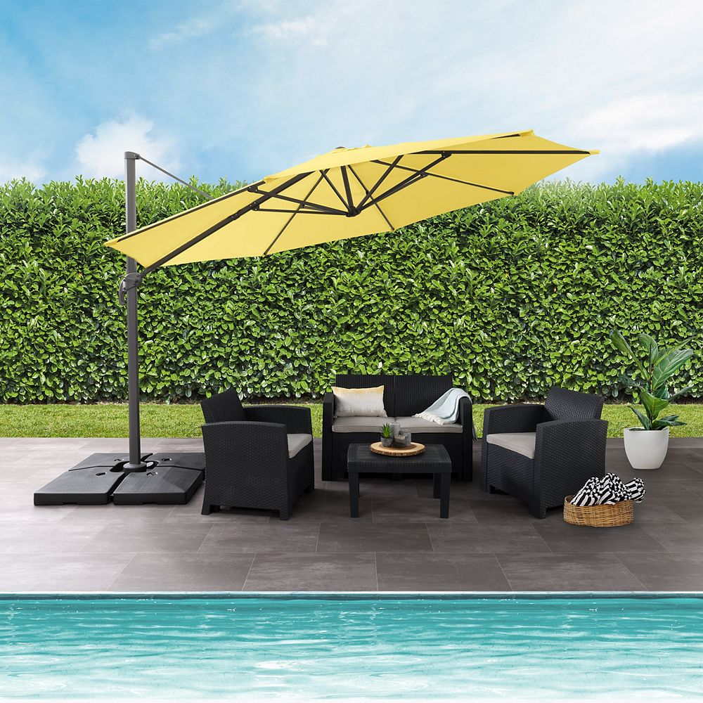 Corliving 11 5 Ft Uv Resistant Deluxe Offset Yellow Patio Umbrella The Home Depot Canada