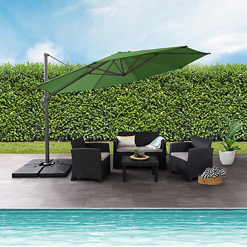 Parasol de patio deluxe excentré et resistant aux UV vert forêt de 11,5 pieds