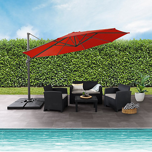 11.5 ft. UV Resistant Deluxe Offset Crimson Red Patio Umbrella