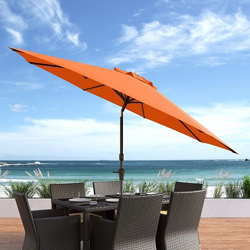 10 ft. UV and Wind Resistant Tilting Orange Patio Umbrella
