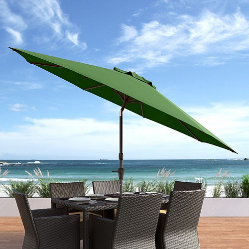 10 ft. UV and Wind Resistant Tilting Forest Green Patio Umbrella