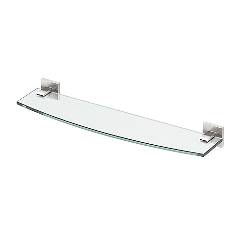 Elevate 20 1/8 inch L Glass Shelf Satin Nickel