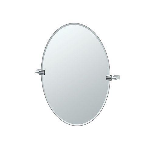 Bleu 26 1/2 inch H Frameless Oval Mirror Chrome