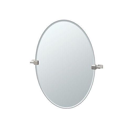 Bleu 26.5 po sans cadre ovale miroir nickel satiné
