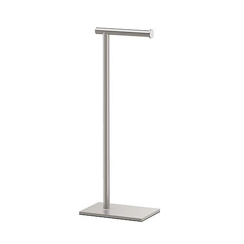 Modern Rectangle Base Standing Toilet Paper Holder 21 1/4 inch H Satin Nickel