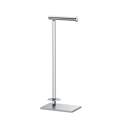 Modern Rectangle Base Standing Toilet Paper Holder with Storage 21 1/8 inch H Chrome