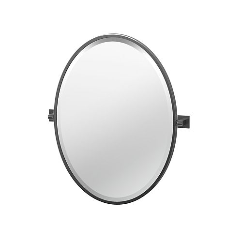 Elevate 27 1/2 inch H Framed Oval Mirror Matte Black