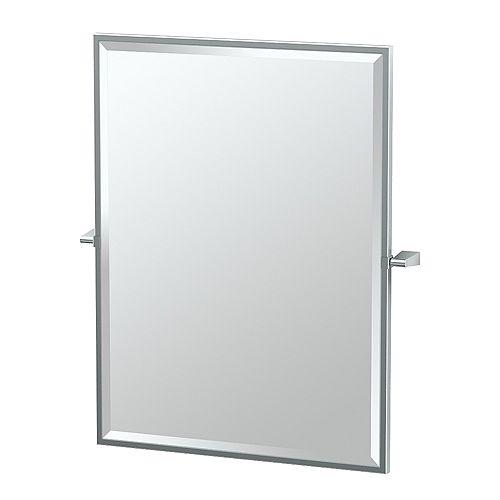 Bleu 32.5 po miroir rectangle encadré chromé