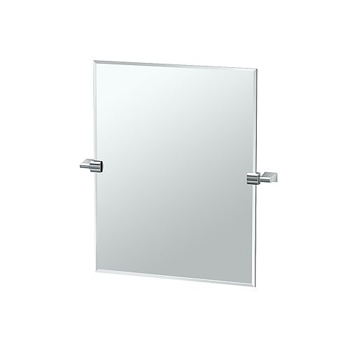 Bleu 24 po sans cadre rectangle miroir chromé