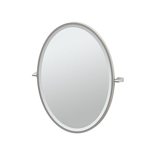Bleu 27.5 po miroir ovale encadré nickel satiné