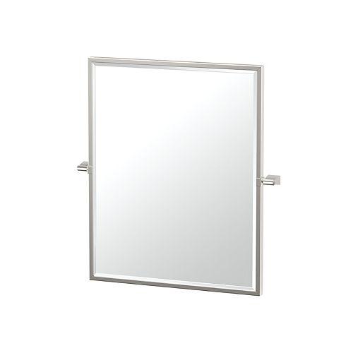 Bleu 25 po miroir rectangle encadré nickel satiné