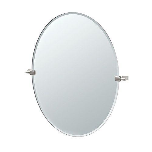 Bleu 32 inch H Frameless Oval Mirror Satin Nickel