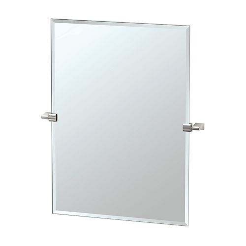 Bleu 31 1/2 inch H Frameless Rectangle Mirror Satin Nickel