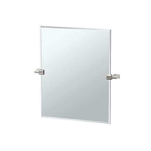Bleu 24 po sans cadre rectangle miroir nickel satiné
