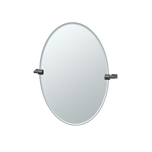 Bleu 26.5 po sans cadre ovale miroir noir mat