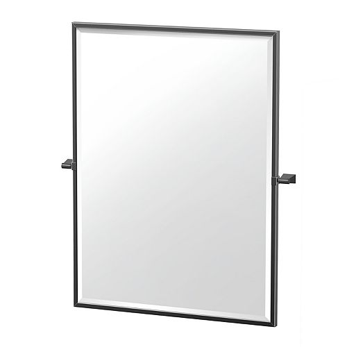 Bleu 32.5 po miroir rectangle encadré noir mat