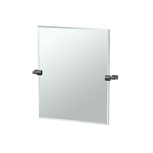 Bleu 24 po sans cadre rectangle miroir noir mat