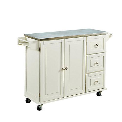 Liberty White Kitchen Cart SS Top
