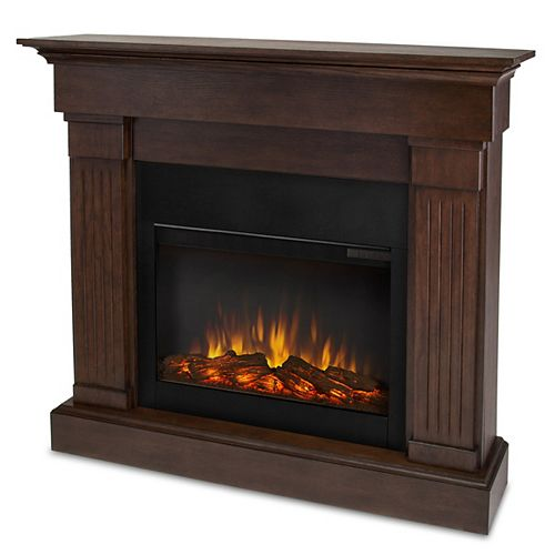 Crawford 47-inch Slim-Line Electric Fireplace in Chestnut Oak