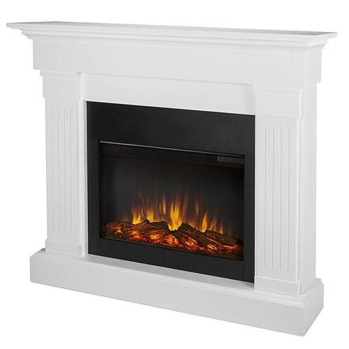 Crawford 47-inch Slim-Line Electric Fireplace in White