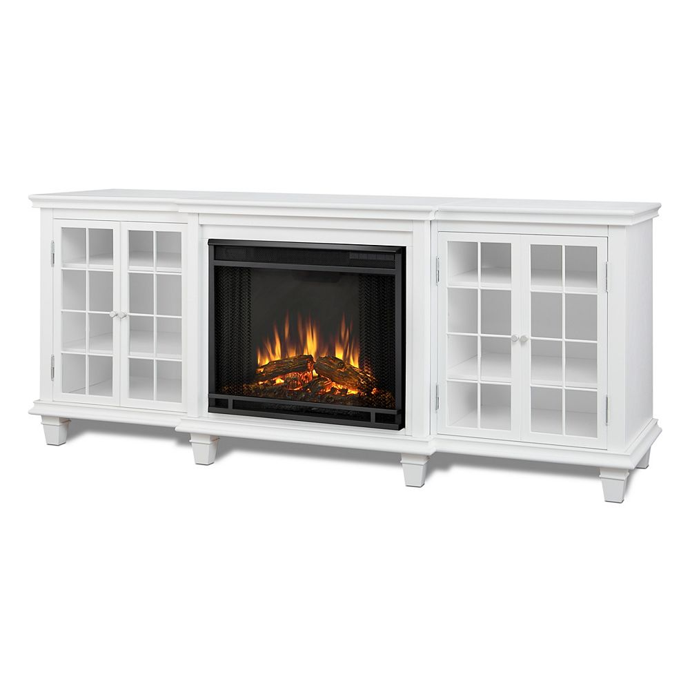 Real Flame Marlowe 70 Inch Freestanding Electric Fireplace Tv Stand In White The Home Depot Canada