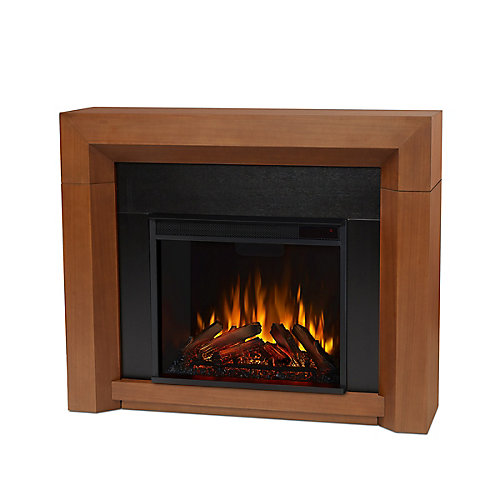 Hughes Electric Fireplace Mantel in Vintage Black Maple
