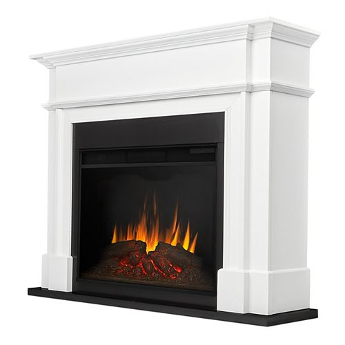 Harlan Grand 55-inch Electric Fireplace in White