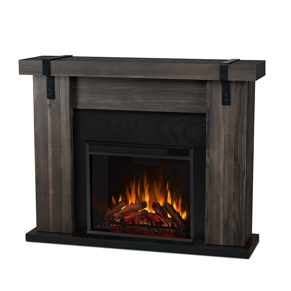 Real Flame Aspen 49 Inch Freestanding Electric Fireplace Tv Stand In Grey Barnwood The Home Depot Canada