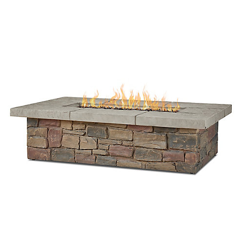 Sedona Rectangular Propane Fire Table with Natural Gas Conversion Kit in Buff