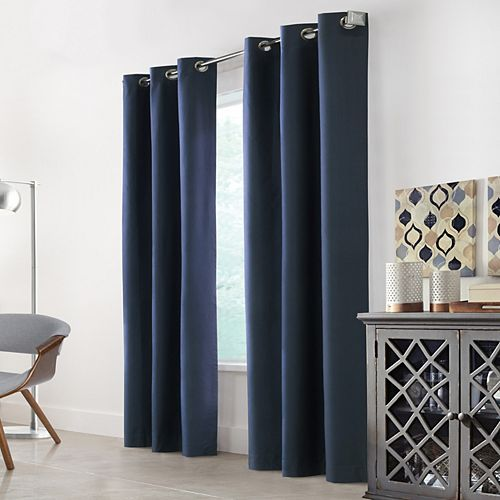 "Home Decorators Collection Hillsdale Total Blackout Grommet Curtain Panel - 40"" W x 84"" L in Blue"
