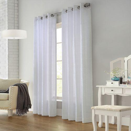 Home Decorators Collection Kali rideau diaphane frangé à oeillets 132 cm x 213 cm couleur blanc