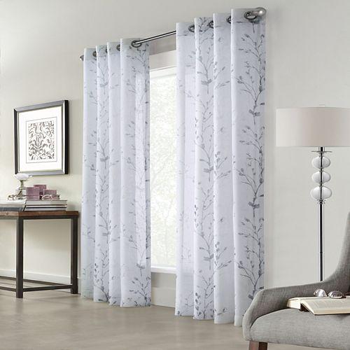 Home Decorators Collection Rideau à oeillets Edinburgh transparent - largeur 132 cm x longueur 213 cm, Blanc