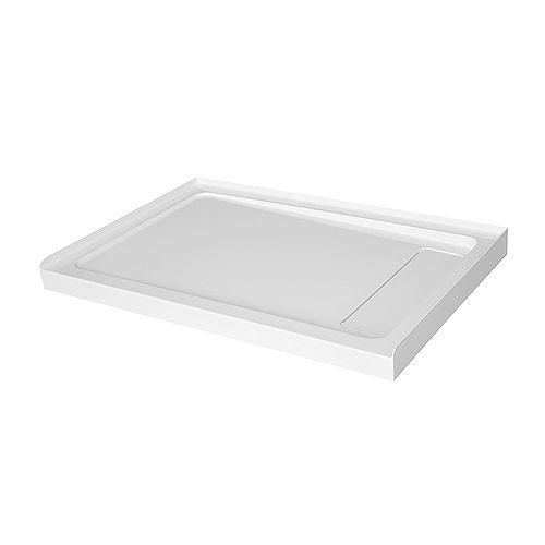 Base de douche en acrylique de 48po x 32po avec drain dissimulé à droite