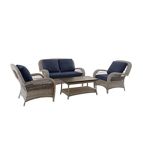 Beacon Park Steel 4-Piece Deep Seating Set - Gray Wicker/Navy Cushion