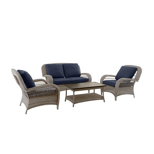 Beacon Park Steel 4-Piece Deep Seating Set - Gray Wicker/Navy Cushion