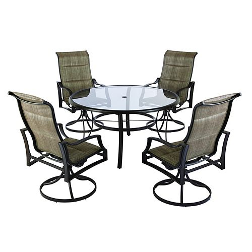 Statesville 5-Piece Padded Sling Patio Dining Set with 53-inch Glass Top