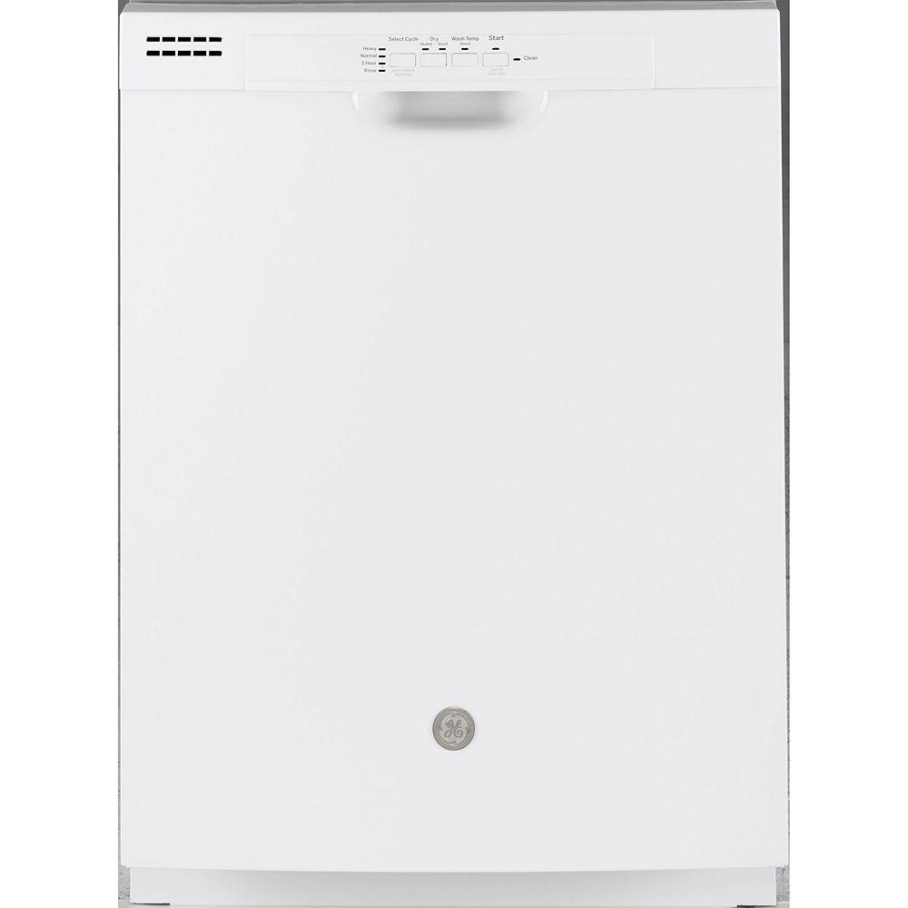 GE Lave-vaisselle encastré avec baignoire de contrôle à l'avant de 24 po en blanc