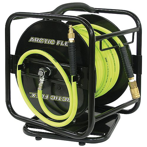 100 ft. x 1/4 inch Manual Air Hose Reel with Hybrid Polymer Air Hose
