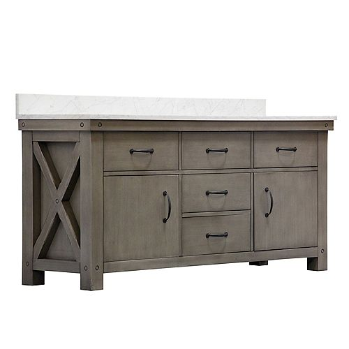 Aberdeen 72-inch W Vanity in Grizzle Grey with Marble Top in Carrara White